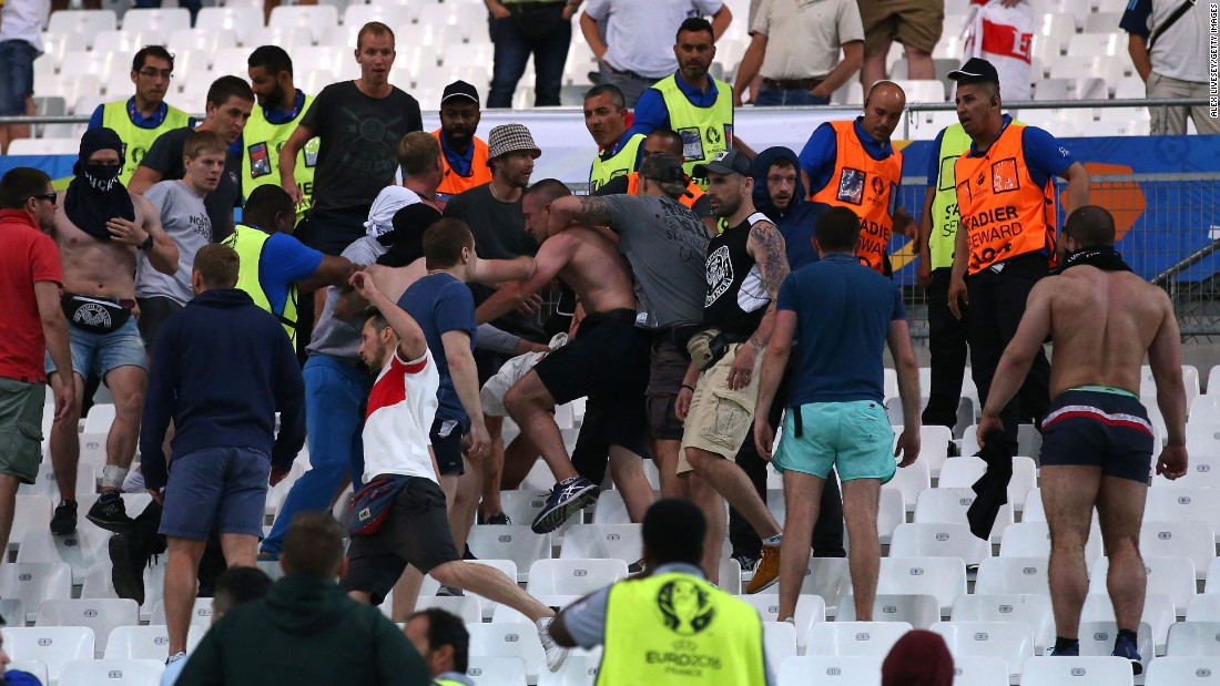 Fans clash in the Stade Velodrome after the England-Russia match in Marseille.