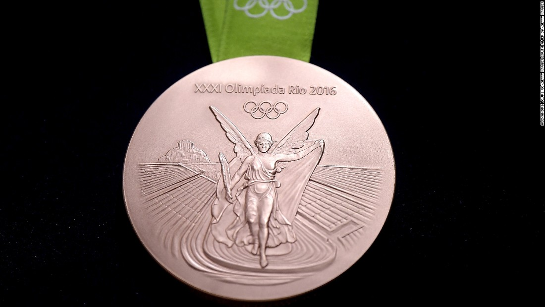 The designs on the medals feature laurel leaves -- a symbol of victory in ancient Greece -- surrounding the Rio 2016 logo, while the other side boasts an image of Nike -- the Greek goddess of victory -- with the Panathinaiko Stadium and the Acropolis in the background.