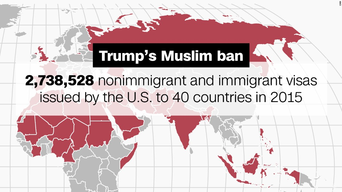 Donald Trumps Muslim Bans Implications In Maps CNNPolitics - Map of countries in us travel ban