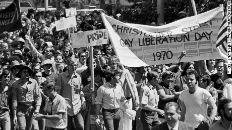 NEW YORK, NY -- Jun 28, 1970 -- GAY LIBERATION PARADE -- The Gay liberation Day Parade entering Central Park on the way to the Sheep Meadow June 28, 1970.  Demonstrations by groups from the Northeast started in Greenwich Village.  (Mike Lien/The New York Times)