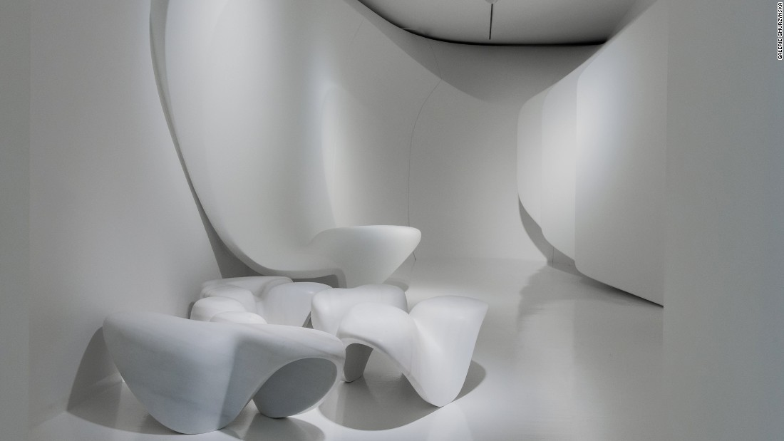 Late architect Zaha Hadid's design for the Kurt Schwitters retrospective in Zurich is a curvy interior full of troughs and hollows that she worked on for a year and a half before her death.