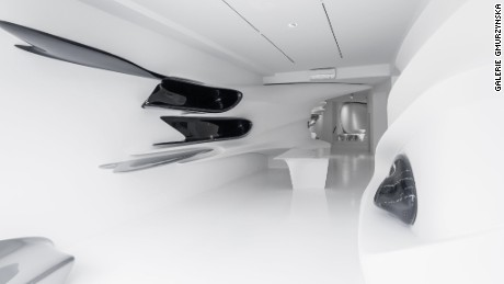 Interior of the Zaha Hadid-designed installation at the Galerie Gmurzynska.