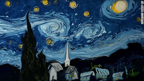 Van Gogh masterpiece painstakingly made on water, destroyed in seconds
