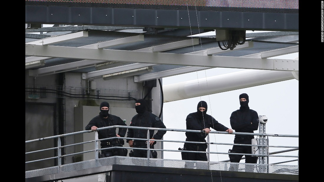 Security forces look on at the Stade Bollaert-Delelis.