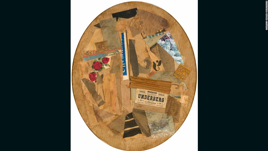 "German Schwitters was most famous for his collages, called Merz Pictures, which incorporated fragments from packaging and newspapers and paved the way for Pop Art. ""Untitled (Oval)"", 1925/26."
