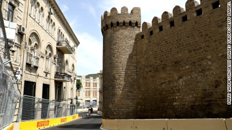 Baku's ancient Qosha gate as seen from the new street circuit