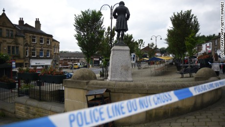 Police tape covers the area in Birstall where Labour MP Jo Cox was shot on June 16, 2016.