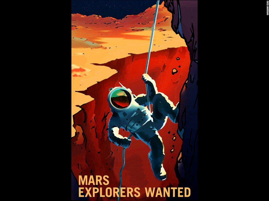 This poster depicts the solar system's largest canyon, Valles Marineris, which is located on the Red Planet.