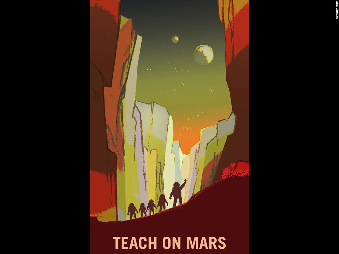 The recruitment posters target a wide range of professions, from teachers to farmers to surveyors, that NASA may one day need on Mars.
