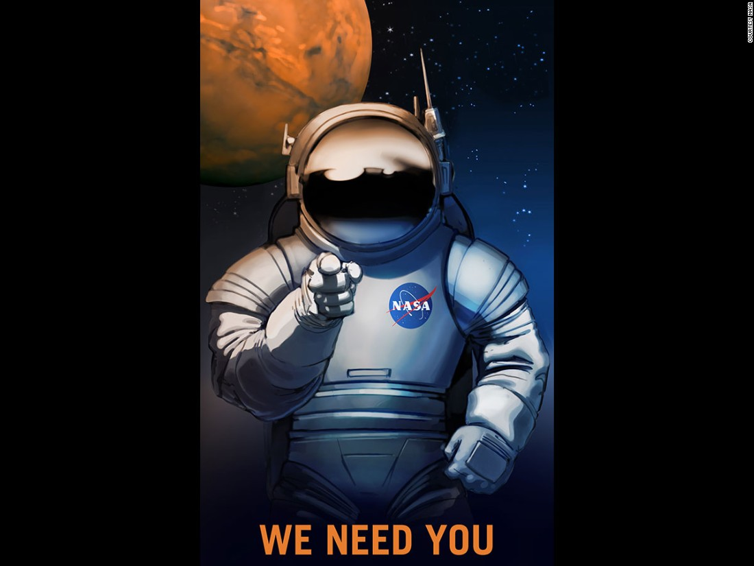 NASA originally commissioned these recruitment posters for an exhibit at the Kennedy Space Center Visitor's Complex in 2009. NASA has started using posters like this to help people imagine what a future in space may look like.