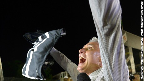 Tite, then-head coach of Corinthians, celebrates winning the Brazilian championship after the match between Vasco and Corinthians as part of Brasileirao Series A 2015 at Sao Januario Stadium in November 2015 in Rio de Janeiro.