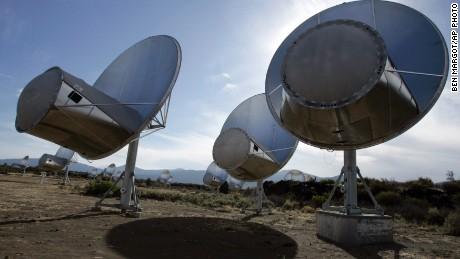 Radio telescopes of the Allen Telescope Array are seen in Hat Creek, California.