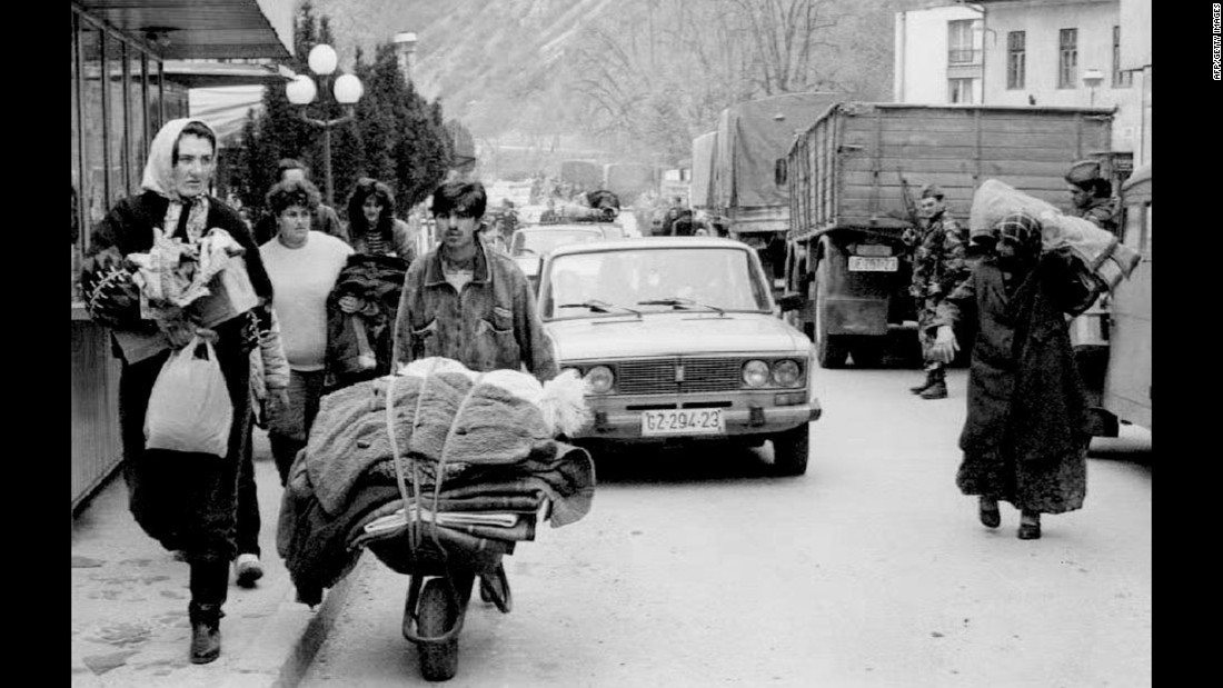 In the 1990s, the United States resettled large numbers of people from Bosnia-Herzegovina, the nation that was left most battered in Yugoslavia's civil war. This photo shows Bosnian Muslims evacuating a town bordering Serbia in the midst of heaving fighting in 1992.