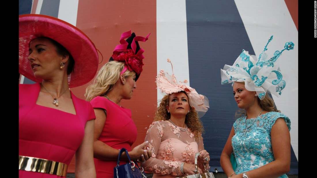 Racegoers arrive for Ladies' Day.