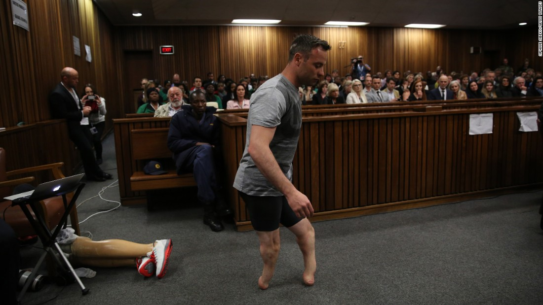 "Former Olympic sprinter Oscar Pistorius walks without his prosthetic legs during <a href=""http://www.cnn.com/2016/06/15/africa/oscar-pistorius-sentencing-hearing/"" target=""_blank"">his sentencing hearing</a> in Pretoria, South Africa, on Wednesday, June 15. His attorney was arguing that he was a vulnerable figure who should receive a lesser sentence for the murder of his girlfriend, Reeva Steenkamp."