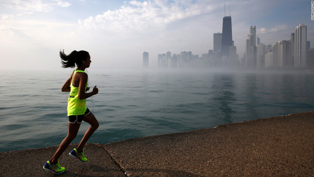 Morning fog from Lake Michigan obscures the Chicago skyline on Friday, June 10.