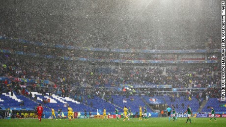The players were forced off the field after a hailstorm in Lyon.