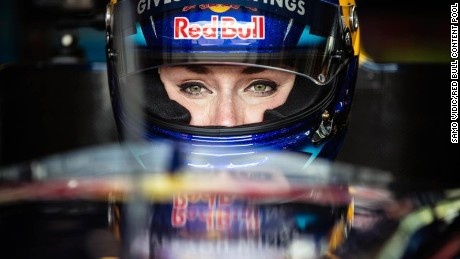 Lindsey Vonn wears a race helmet during her drive at the Red Bull Ring.