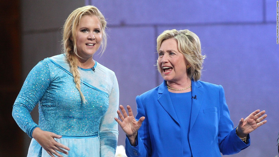 """Amy Schumer and Hillary Clinton attend """"The Ellen DeGeneres Show"""" at New York's Rockefeller Center in September 2015. Schumer used a picture of the two of them from the show to declare <a href=""""https://twitter.com/amyschumer/status/715221814373445632?ref_src=twsrc%5Etfw"""" target=""""_blank"""">on Twitter in March: """"#I'mWithHer.""""</a>"""