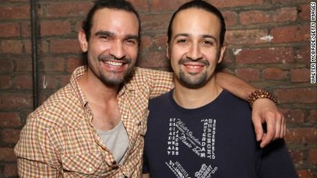 Javier Muñoz and Lin-Manuel Miranda pose at the Richard Rodgers Theater in New York on Thursday, June 16.
