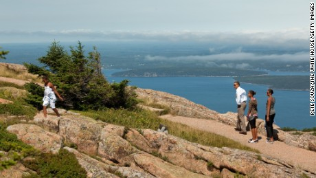 The Obamas hiked on Cadillac Mountain in Maine's Acadia National Park in July 2010.