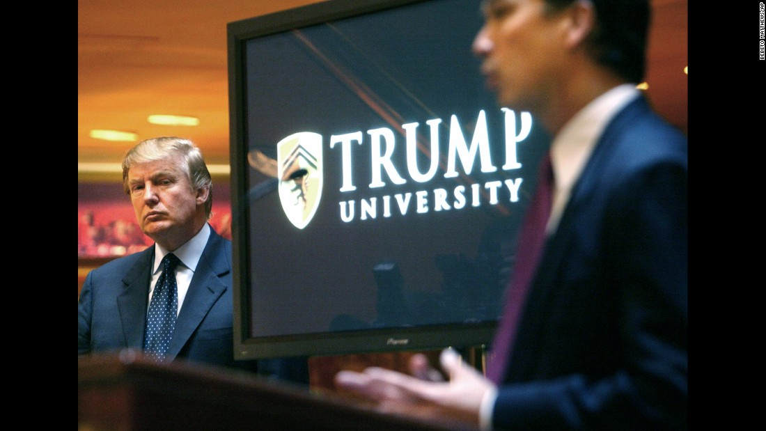 "Trump attends a news conference in 2005 that announced the establishment of Trump University. From 2005 until it closed in 2010, Trump University had about 10,000 people sign up for a program that promised success in real estate. <a href=""http://money.cnn.com/2016/03/08/news/trump-university-controversy-donald-trump/"" target=""_blank"">Three separate lawsuits</a> -- two class-action suits filed in California and one filed by New York's attorney general -- argued that the program was mired in fraud and deception. Trump's camp rejected the suits' claims as ""baseless."" And Trump has charged that the New York case against him is politically motivated."