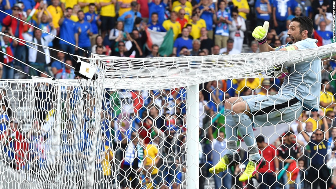 Goalkeeper Gianluigi Buffon celebrates after Italy defeated Sweden 1-0 in Toulouse, France. With the victory, Italy assured itself a spot in the knockout stage.