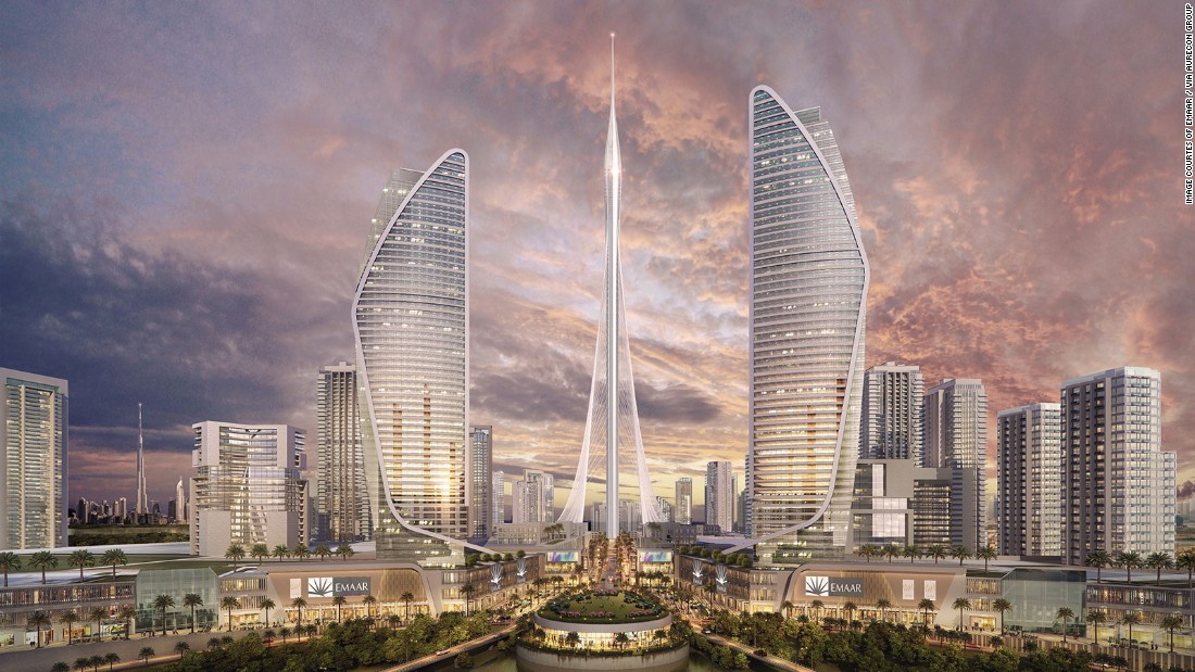 "A new mega-tall skyscraper aims to be the tallest in the world, upon completion in 2020. ""The Tower"" will be built on the Dubai Creek Harbor, a massive new tourism development. The Tower will eclipse the Dubai's Burj Khalifa -- currently the tallest building in the world. <br /><strong>Height: </strong>928m (3,044ft) <strong><br />Architect: </strong>Santiago Calatrava"
