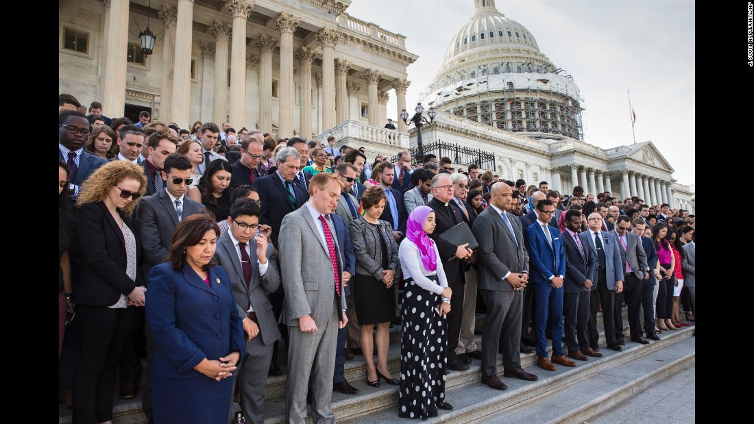 "A moment of silence is held on the steps of the U.S. Capitol on Monday, June 13, to remember the victims of the Orlando nightclub shooting. At least 49 people <a href=""http://www.cnn.com/2016/06/12/us/gallery/orlando-shooting/index.html"" target=""_blank"">were killed in the massacre,</a> the deadliest mass shooting in U.S. history."