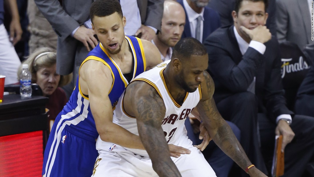 With James playing variations of all five positions on the floor in a single game, he is sometimes matched up with point guard Curry, who is about five inches shorter and 60 pounds lighter than him.