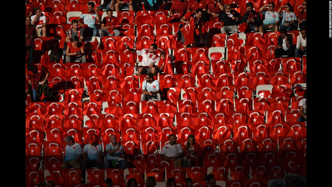 Turkish flags are seen in a section of the Allianz Riviera Stadium.
