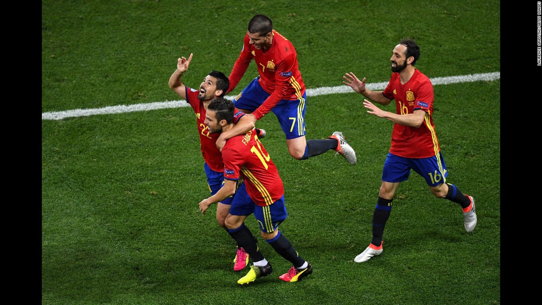 Nolito, far left, celebrates with teammates after his goal in the first half. It came just a few minutes after Morata's opening goal.