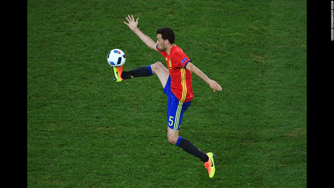 Spanish midfielder Sergio Busquets controls the ball during the match in Nice, France.