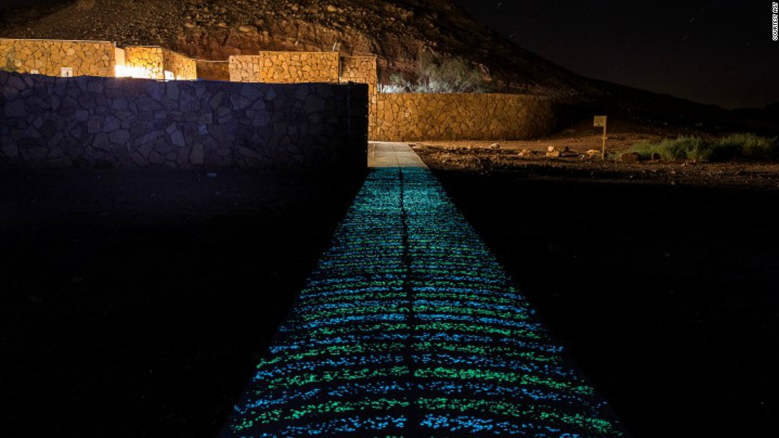 "This path in Be'erot Khan, Israel is made of photoluminescent stone that <a href=""http://edition.cnn.com/2016/07/14/design/glow-in-the-dark-cement/"" target=""_blank"">glows in the dark</a> after soaking up light during the day. Recently, Mexican scientist Jose Carlos Rubio Avalos invented glow-in-the-dark cement that could change how cities are lit."
