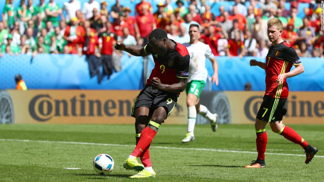 Romelu Lukaku of Belgium scores his team's third goal.