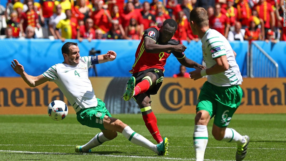 Romelu Lukaku of Belgium scores his team's first goal.