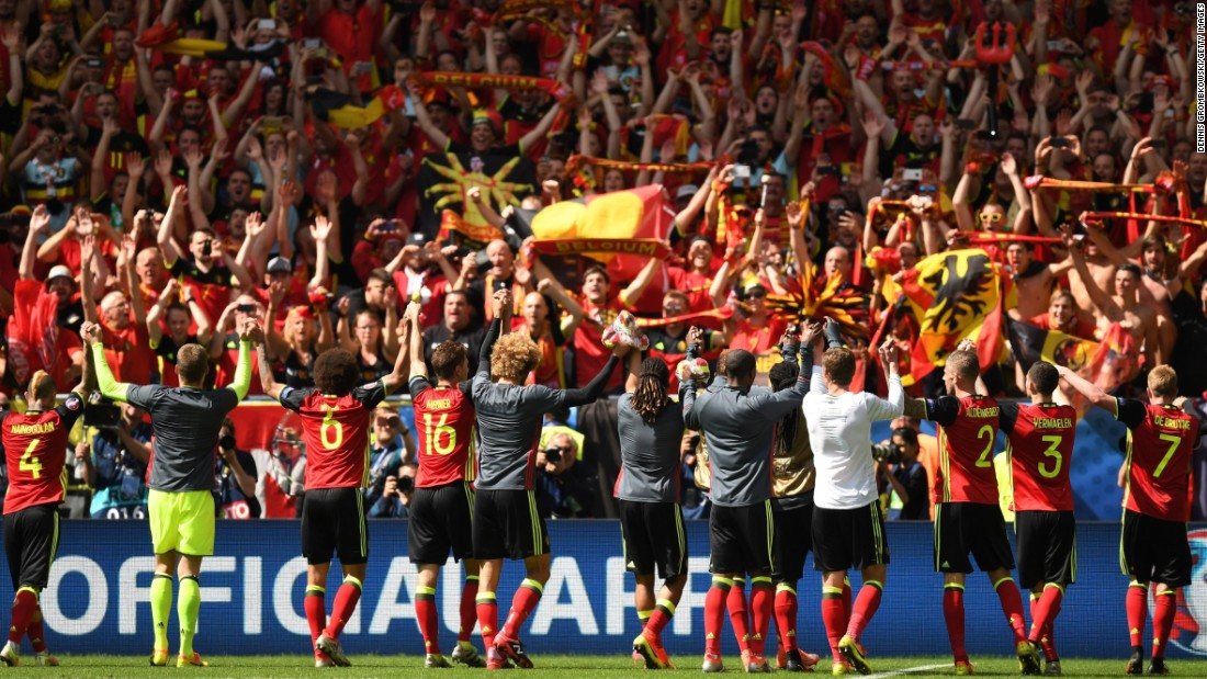 Belgium celebrates with fans after their 3-0 victory over Republic of Ireland at Stade Matmut Atlantique on Saturday, June 18,  in Bordeaux, France.