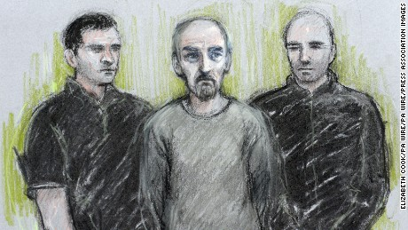 Court artist sketch by Elizabeth Cook of Thomas Mair (centre) at Westminster Magistrates' Court in London, where he appeared charged charged with the murder of Labour MP Jo Cox.
