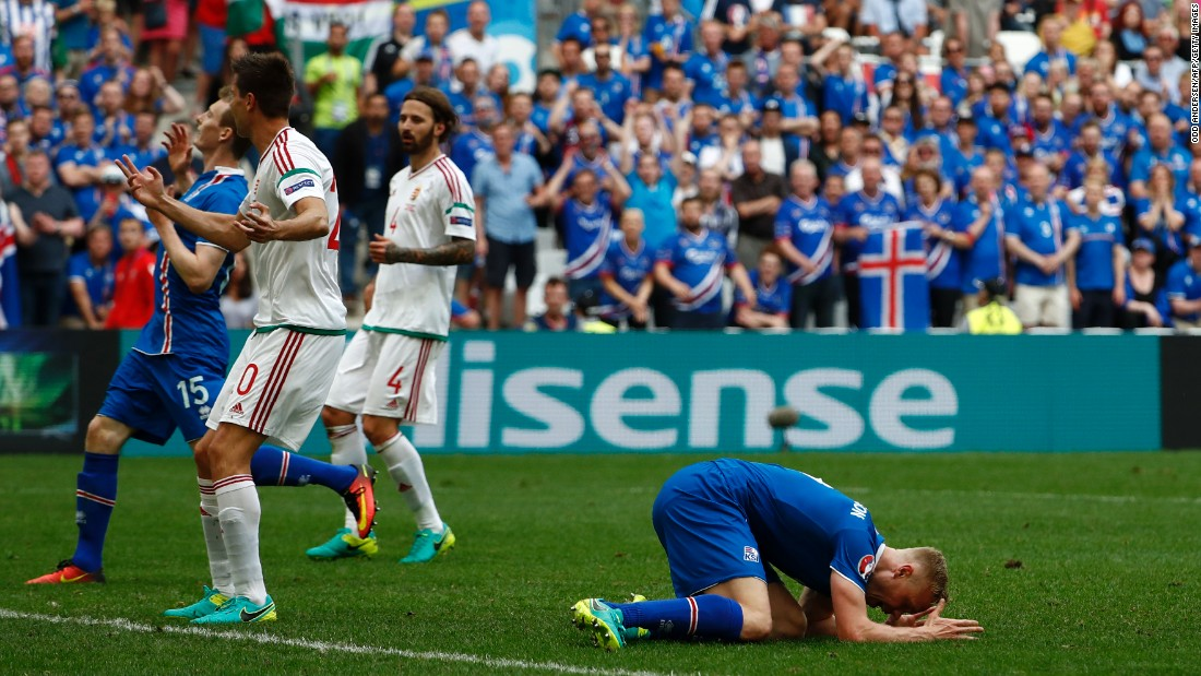Iceland forward Kolbeinn Sigthorsson reacts after missing a goal opportunity.