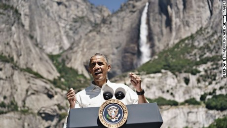 U.S. President Barack Obama speaks while celebrating the 100th anniversary of the US National Parks system at Yosemite National Park, California, on June 18, 2016. / AFP / Brendan Smialowski        (Photo credit should read BRENDAN SMIALOWSKI/AFP/Getty Images)