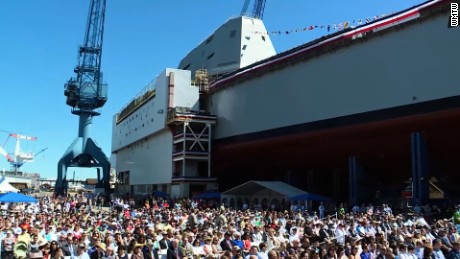 NS Slug: ME: NAVY CHRISTENS NEW ZUMWALT DESTROYER  Synopsis: New U.S. destroyer christened after late Navy SEAL  Keywords: MAINE NAVY CHRISTENS NEW ZUMWALT DESTROYER