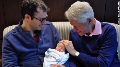Democratic presidential candidate Hillary Clinton tweets photo of her new grandson, Aidan Clinton Mezvinsky.
