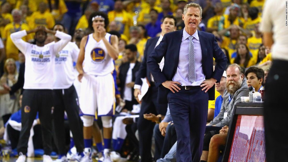 Golden State head coach Steve Kerr reacts to a play in the first half. The Warriors won an NBA record 73 games during the regular season.