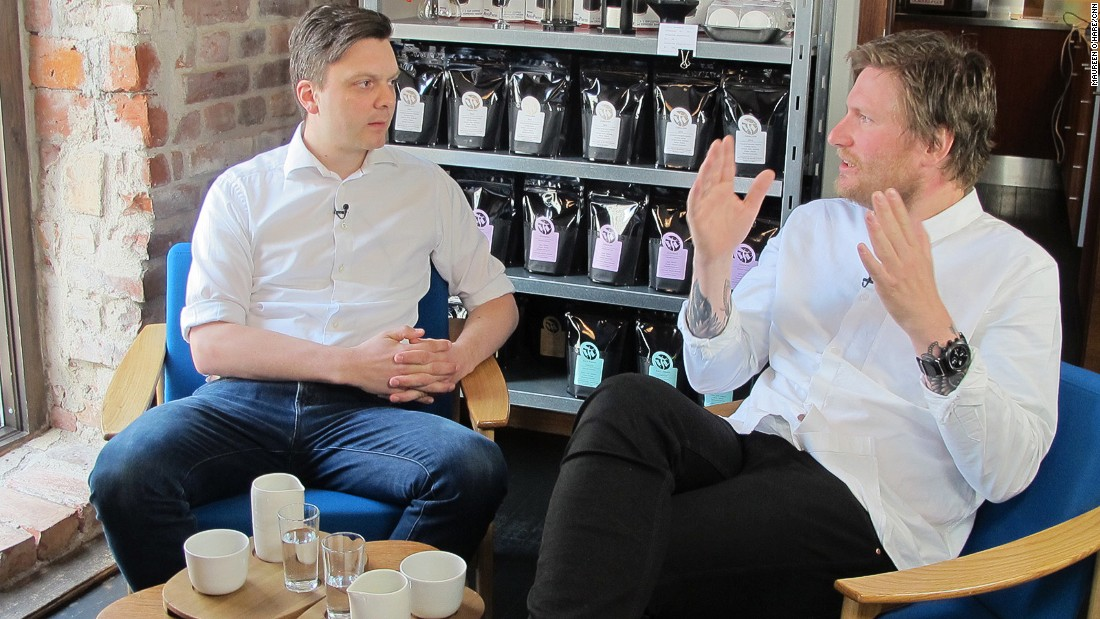 Tim Wendelboe (left) owns a coffee shop and micro-roastery in Oslo's hip Grunerlokka district. He supplies coffee to Michelin-starred restaurants including Noma in Copenhagen and Maaemo in Oslo, run by Danish chef Esben Holmboe Bang (right).