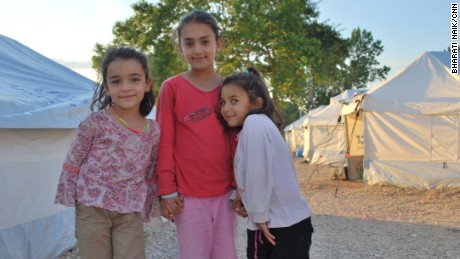 Sisters Lina, six, Riam, nine, and Dima Suleiyman, five, fled Syria with their parents, but became stuck in Greece when the country's border closed.