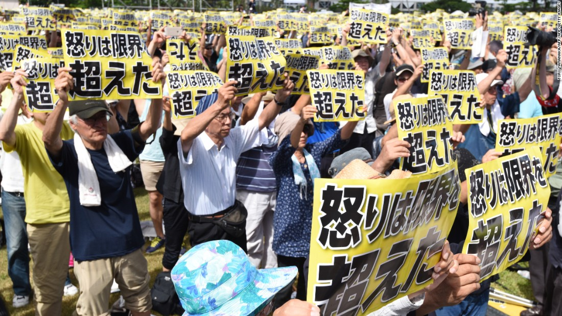 "Crimes committed by American personnel have angered the Okinawa population for decades. Demonstrators held placards that read ""our fury has gone beyond the limit."""