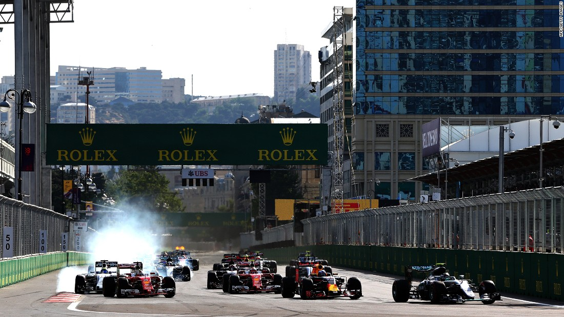The street circuit was expected to cause problems for the drivers -- especially at the start (pictured) -- but there were no major incidents during the race.