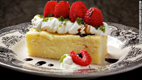 A Warm Parmesan Cake With Whipped Mascarpone, Raspberries and Basil Sugar