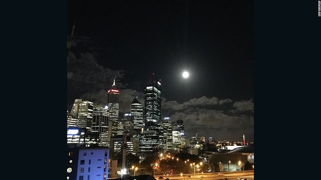 The full moon illuminates the night sky in Perth, Western Australia, on June 19.