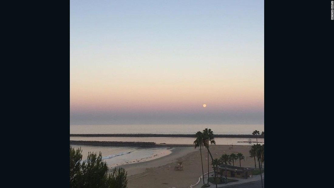 Natasha Halevi woke up in time to see the full moon above Newport Beach, California, on June 20.